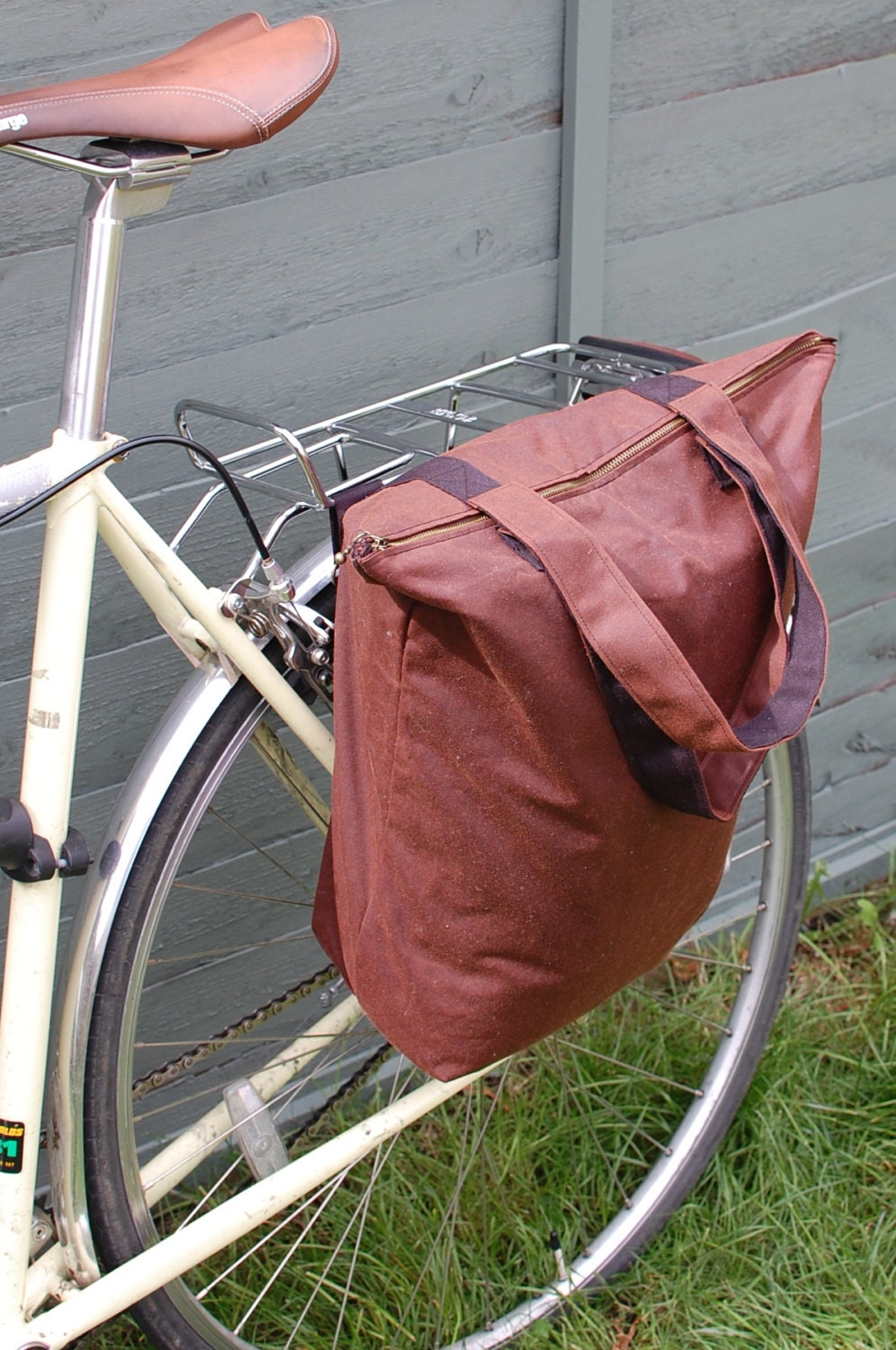 Hybrid bicycle pannier and shoulder tote bag  chestnut antique waxed cotton.