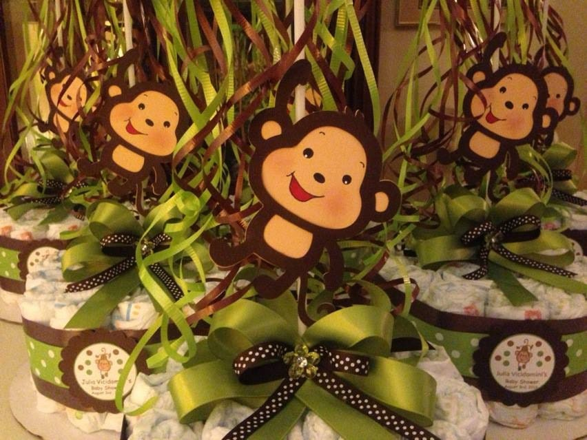 monkey baby shower diapers centerpiece with balloon green brown
