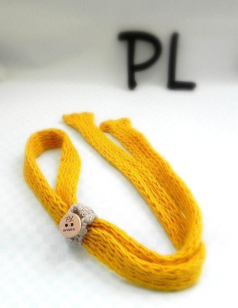 Knitted mustard yellow extra long skinny felted wool tie scarf by PL wear - PLwear