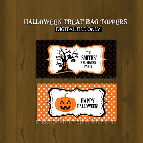 Party Printable Bag Toppers - Halloween Birthday Printable Treat ...