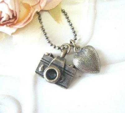 Heart Camera Pendant Necklace (Brass)