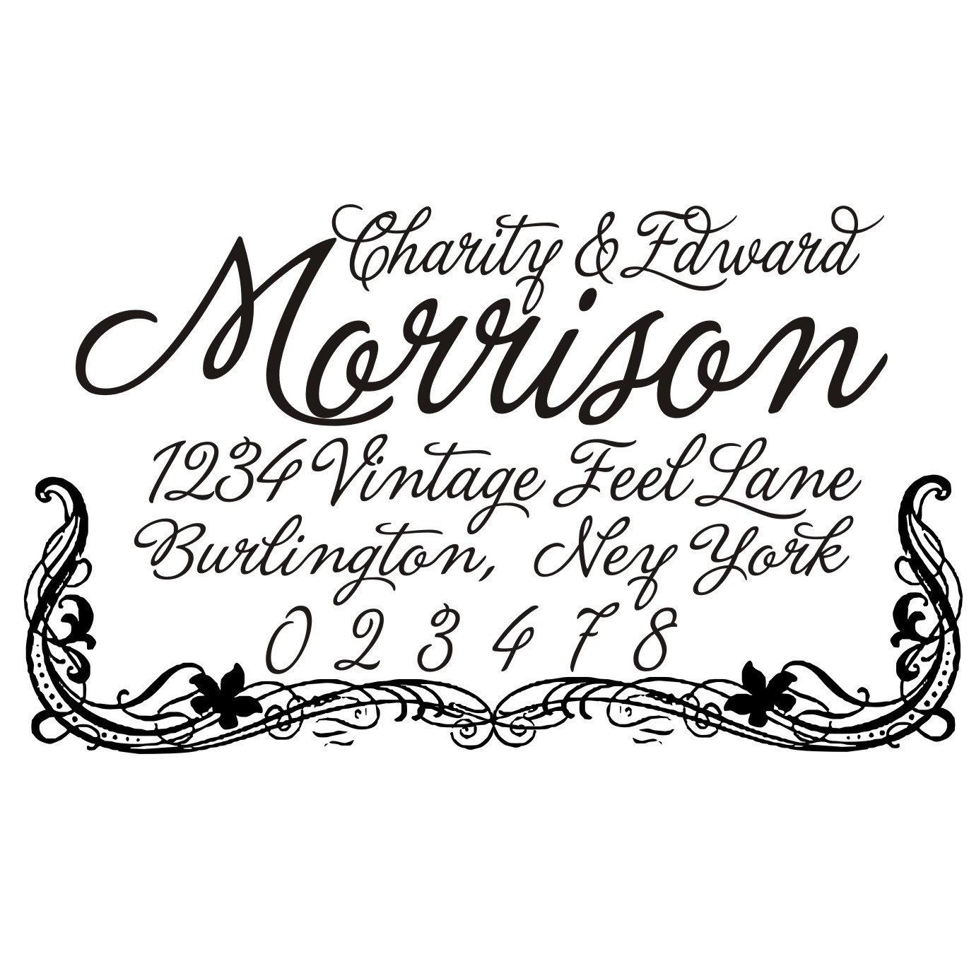 Vintage elegant script font return address rubbber stamp