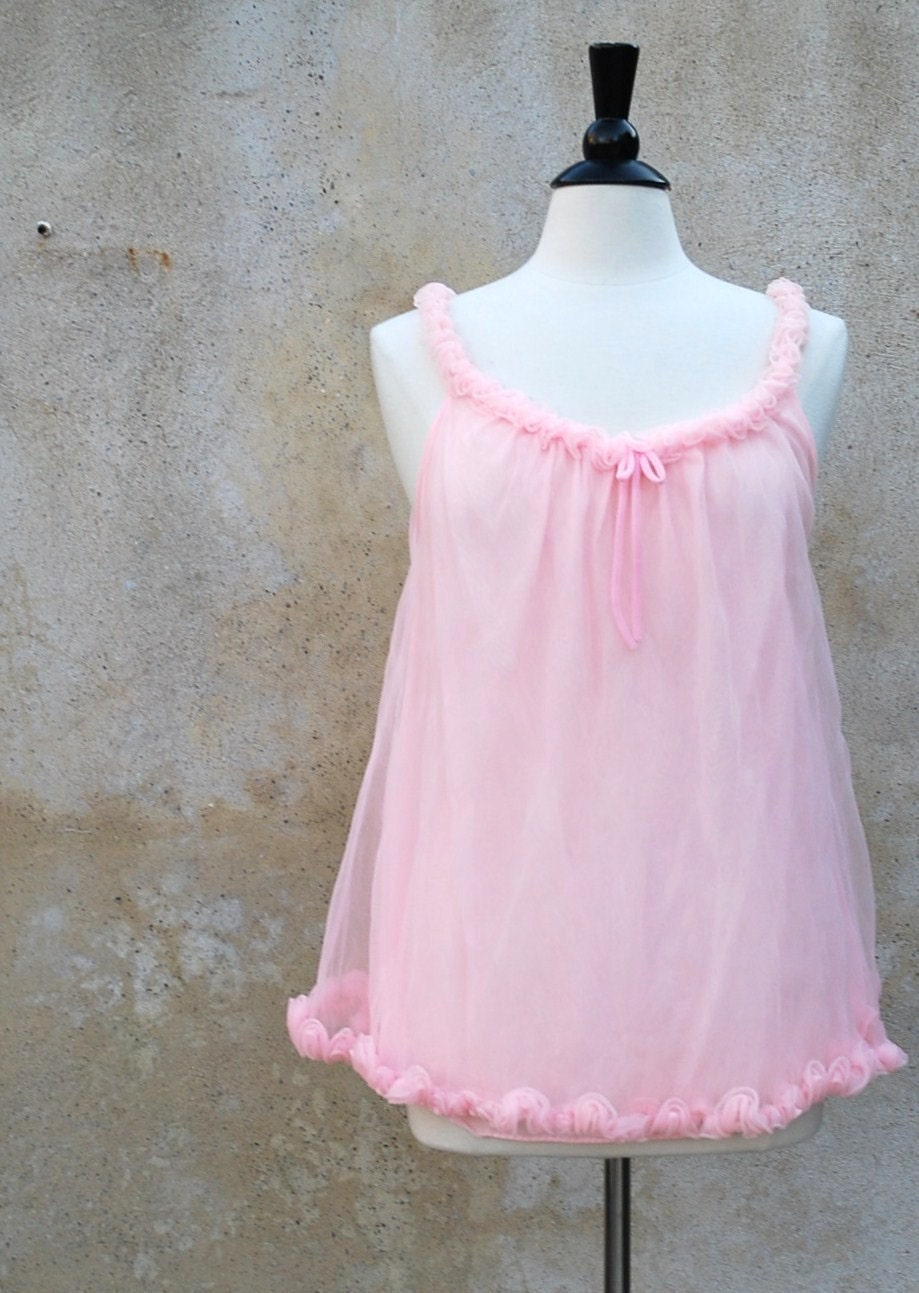 Vintage 1950s Pink Chiffon Baby Doll Nightgown By