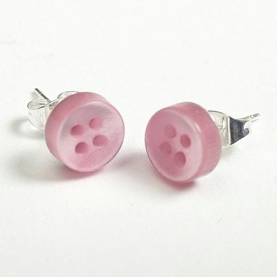 Button Stud Earrings - Pale Pink 9mm - buttonjewellery