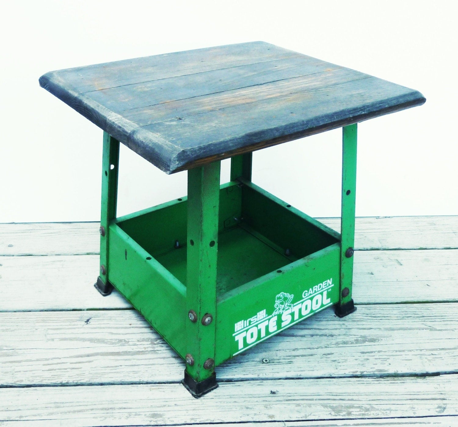 Green Steel Stool Painted Metal Tote Stool Garden By