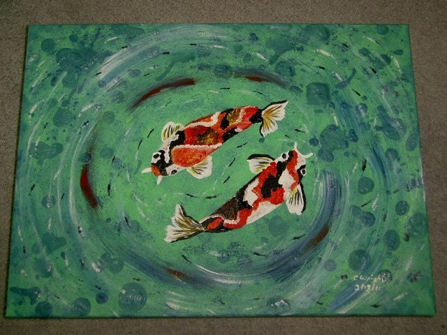 Mystical Koi 18x24 painting fish  original acrylic painting  on stretched canvas FREE USA SHIPPING