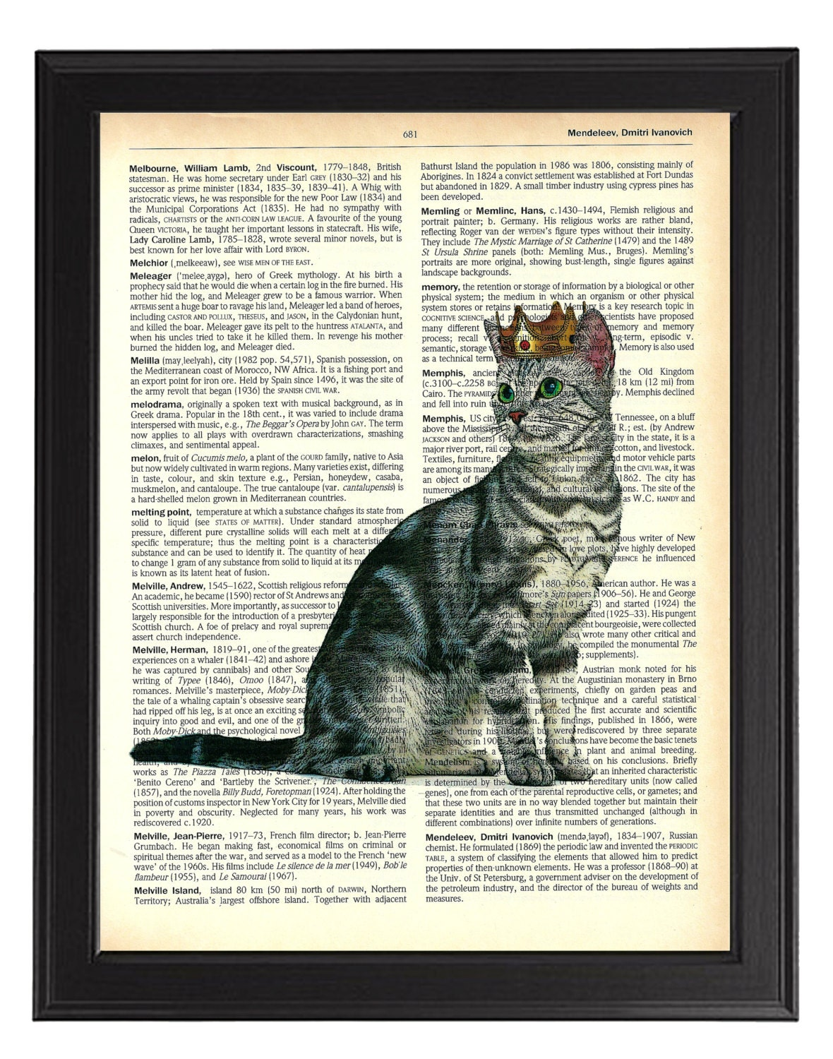 Cat in Crown Art Print  Vintage Dictionary Cat Artwork Cat Wall Decor Anniversary Gift Cat Painting Cat Poster Tabby Cat Poster Art