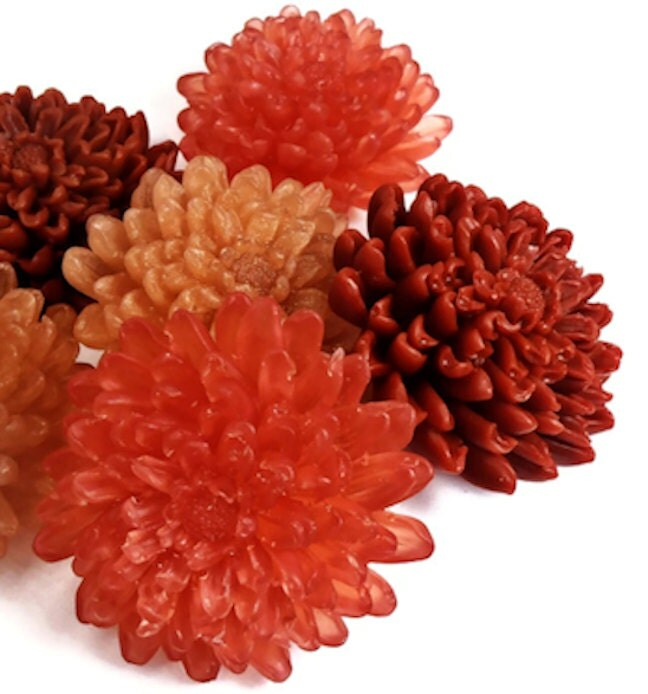 Fall  Soaps - Autumn Chrysanthemum Soaps - Decorative Fall Gift Soaps - EcoChicSoaps