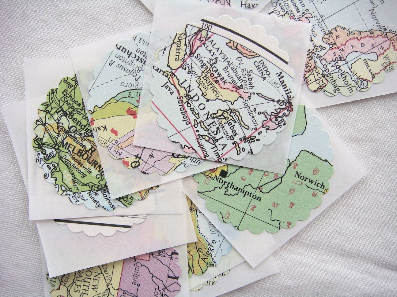 10 Repurposed Paper Stickers . Seals Atlas by missIsa on etsy