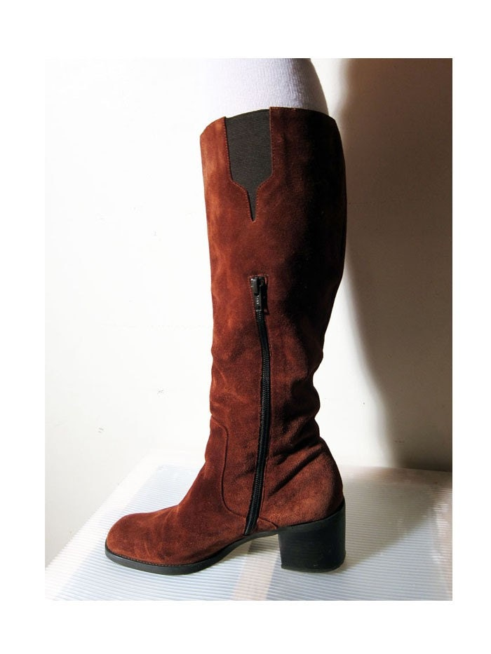 liz claiborne knee high suede boots rust 1980s by