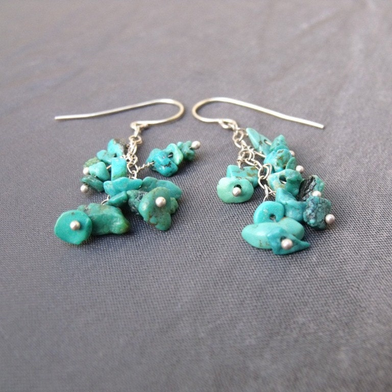 Surprising Earrings with Turquoise chips and Silver - Free Shipping