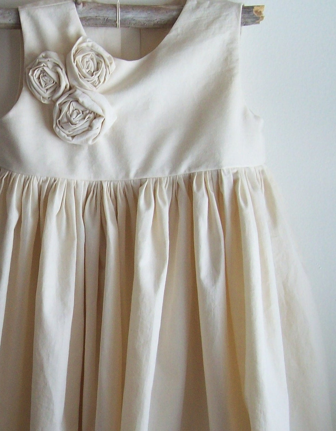 Iris... Natural Cotton Flower girl Dress Made to Order