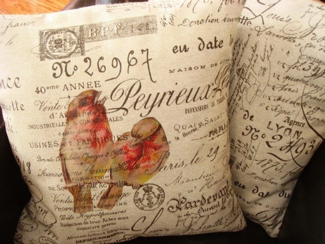 French Script Love Birds Pillow Cover  Gathered Comforts