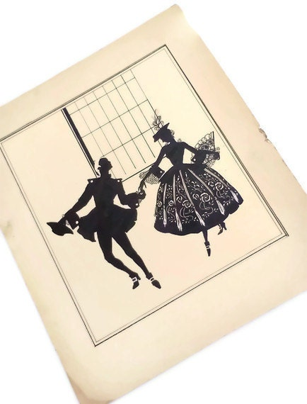 Vintage Pen and Ink Illustration Silhouette Man and Woman - WeeLambieVintage