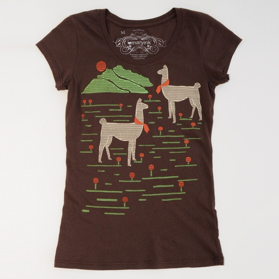 Llamas T-Shirt in Brown Sizes S/M/L