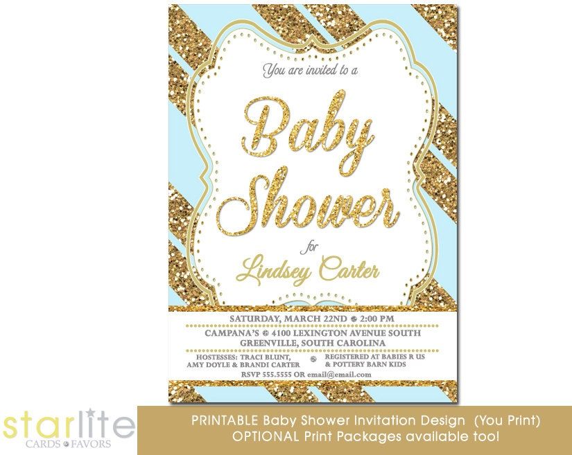 Starlite printables invitations stationery blue and gold baby blue gold glitter stripes baby shower invitation filmwisefo