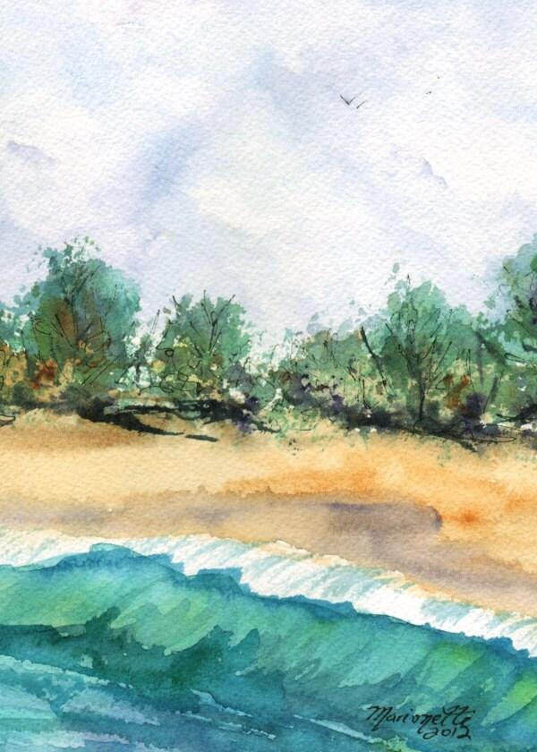 My Secret Beach 5x7 Print from Kauai Hawaii teal turquoise blue sand green - kauaiartist