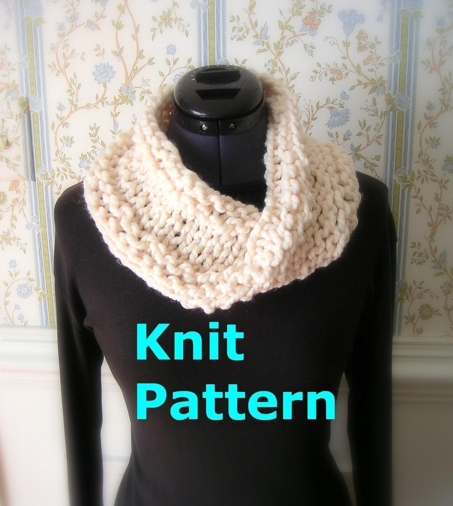 Easy Knit Pattern pdf Infinity Cowl Scarf by GraceKnittingPattern