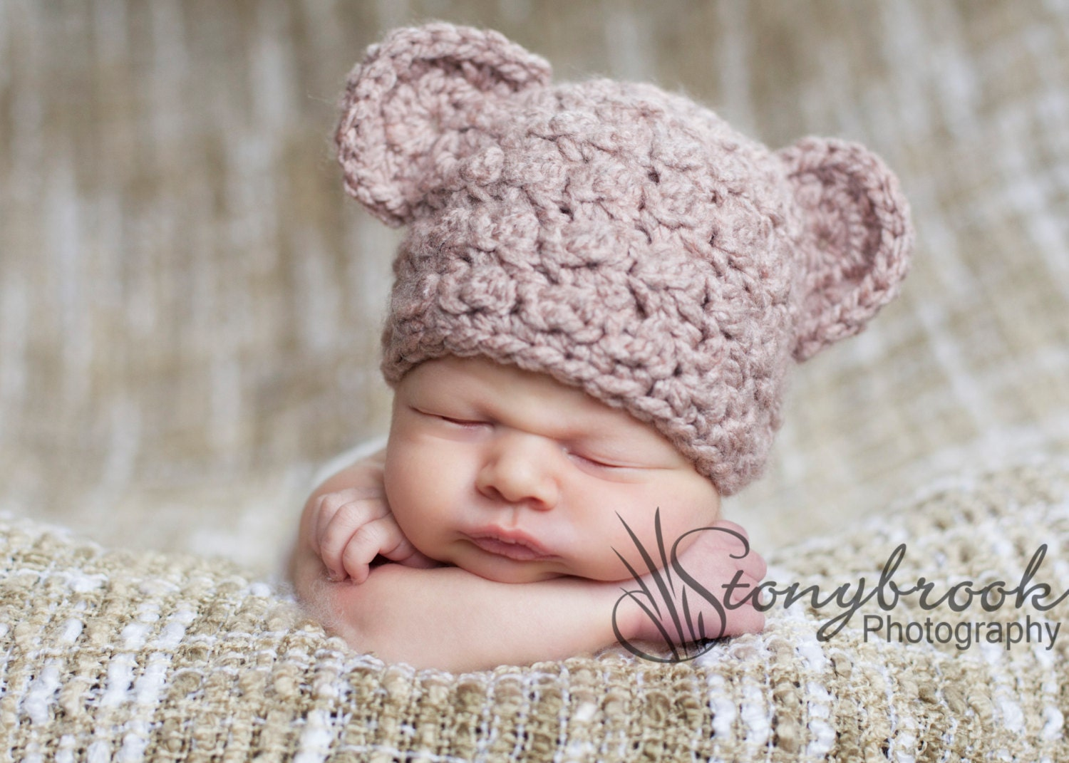 Made to Order Baby Bear Beanie Newborn or 1-3mo. size