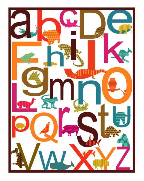 Girly Animal Alphabet Print ( Free Shipping)