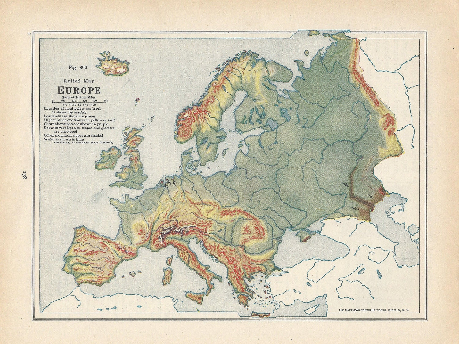 Vintage Map Europe Relief Map 1920s by VintageButtercup on Etsy