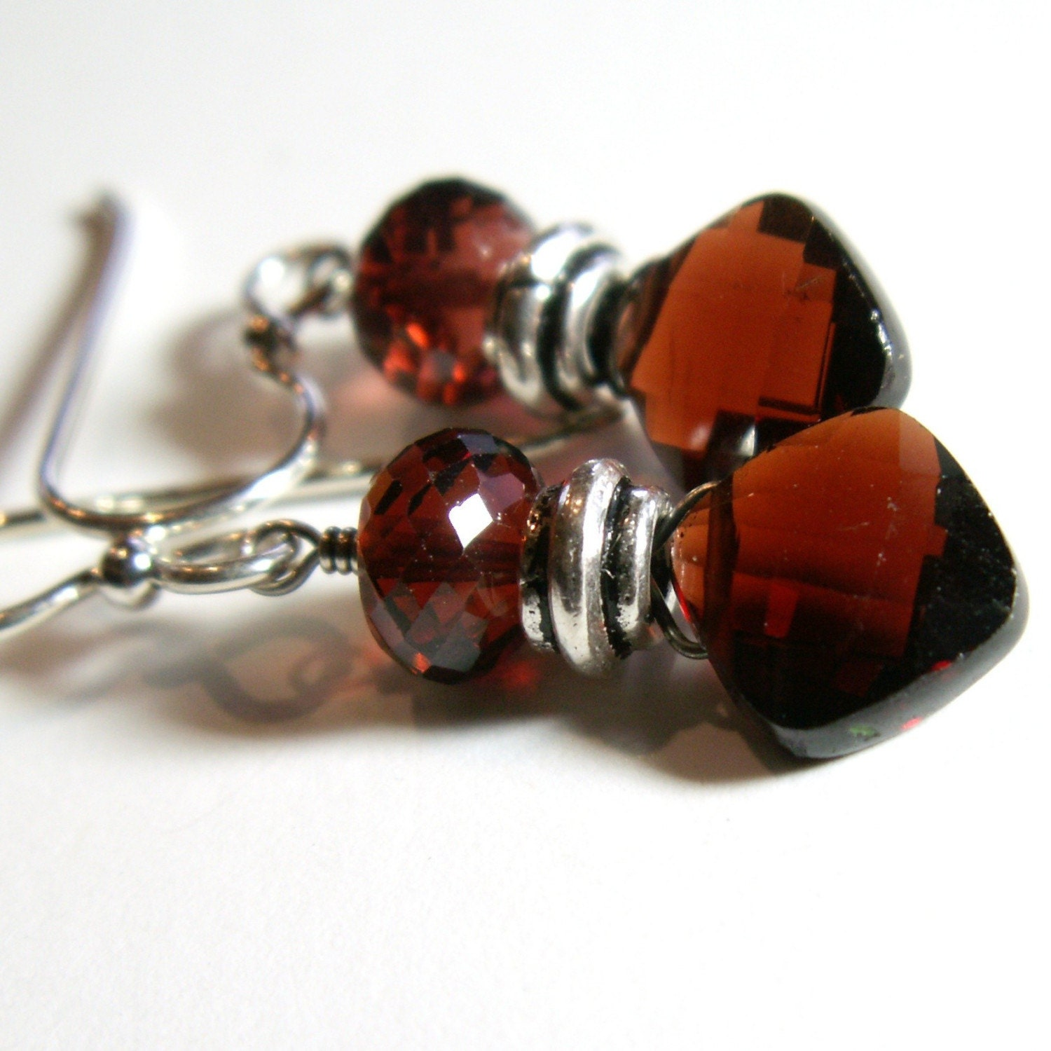 sterling silver earrings garnets briolette faceted red burgundy