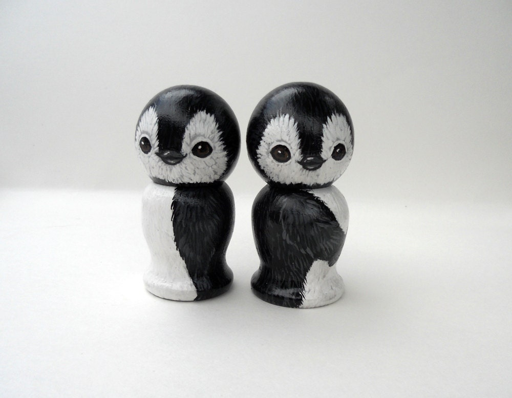 Penguin Wedding Cake Toppers Wooden Kokeshi Dolls