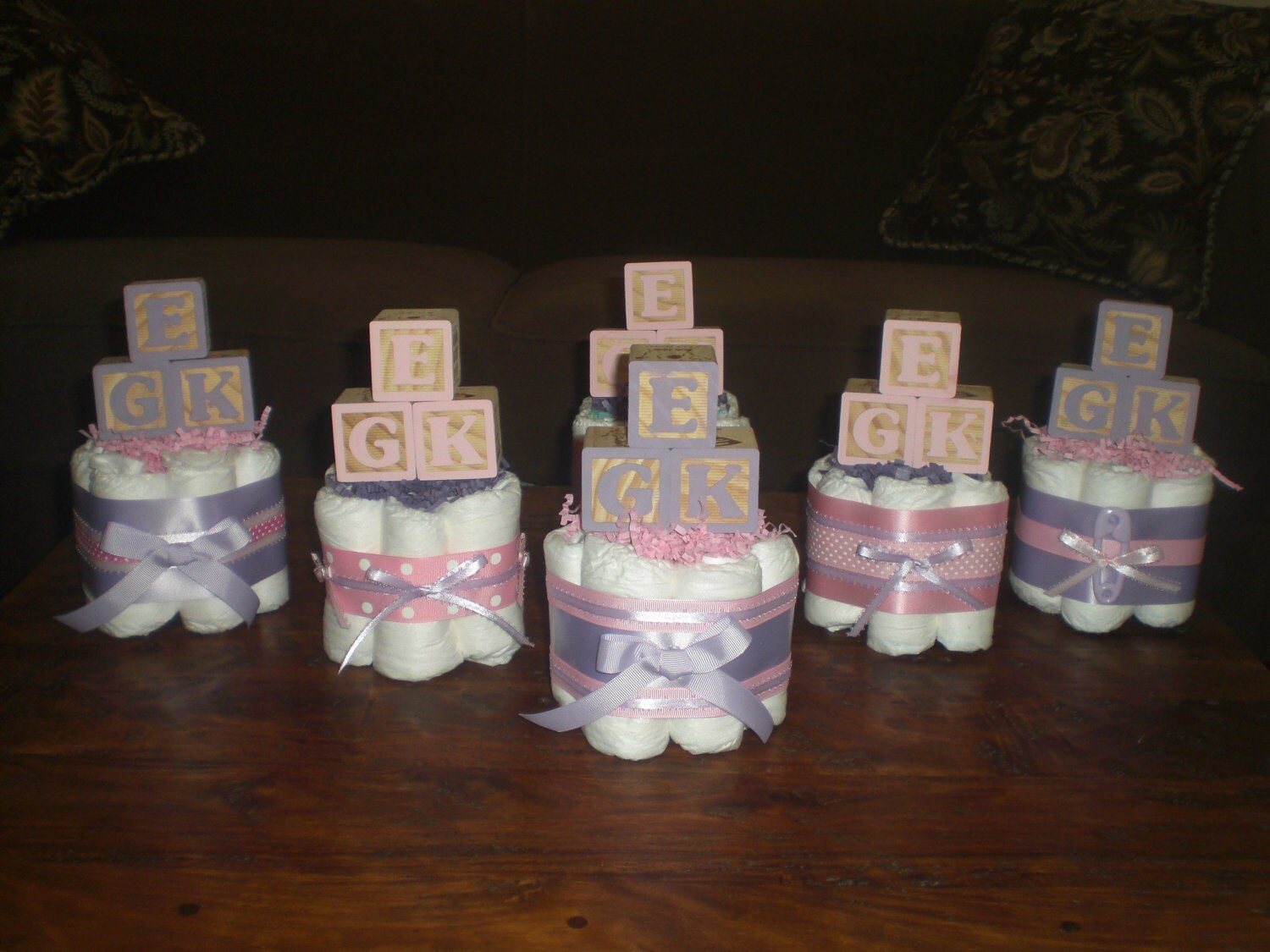 Pink and Purple Baby Shower Centerpieces by bearbottomdiapercakes