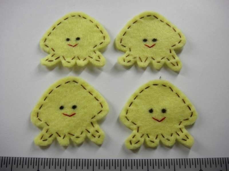 Felt Applique - JELLY FISH - 4 PCS - Handmade