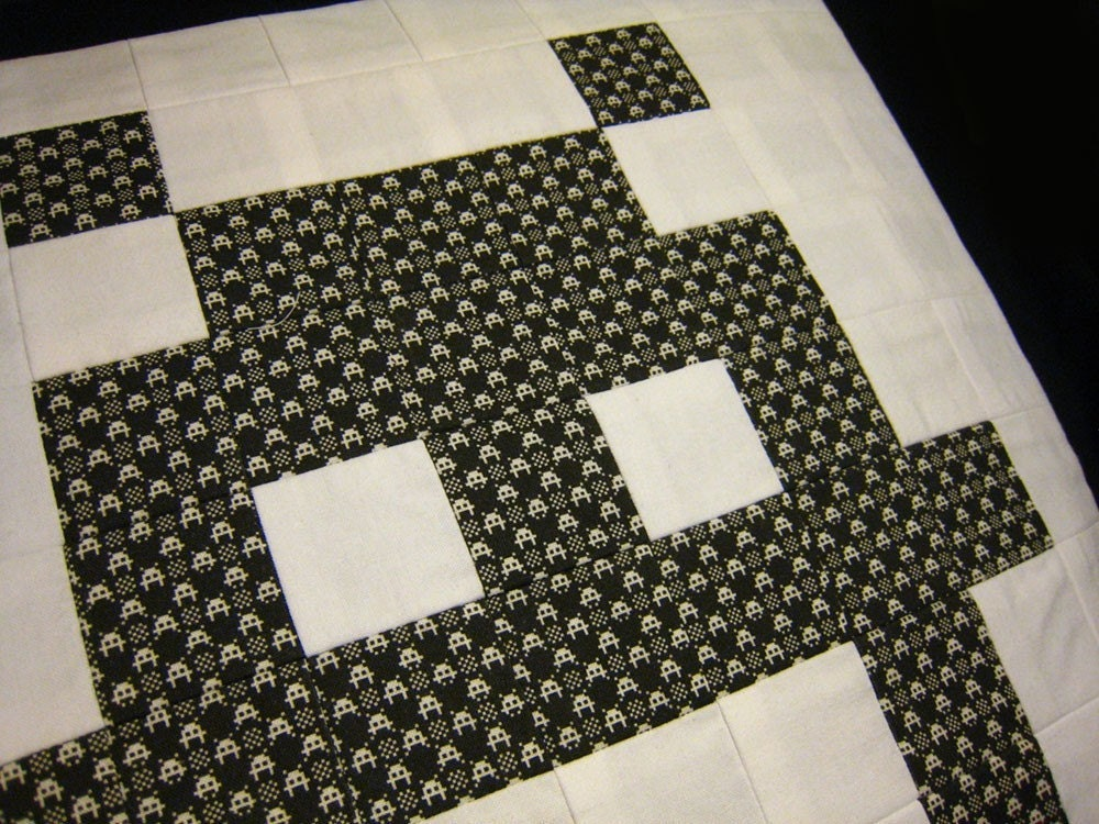 Patchworked Pixel Space Invader Cushion Cover - Gingham Invaded