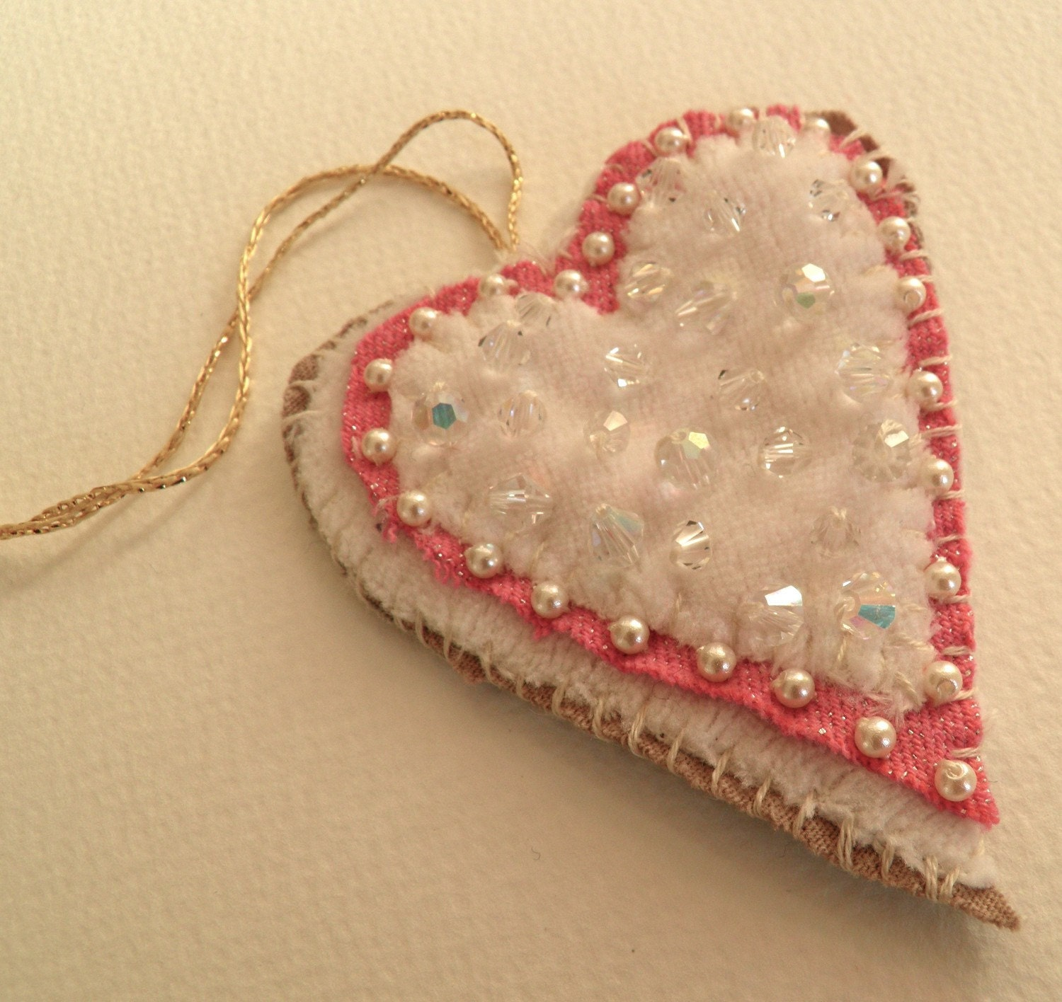 Upcycled fabric, Heart decoration