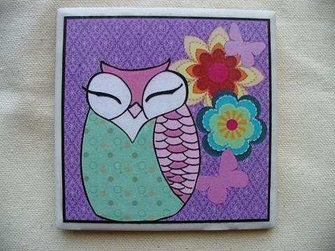 Cute Purple Owl Coaster
