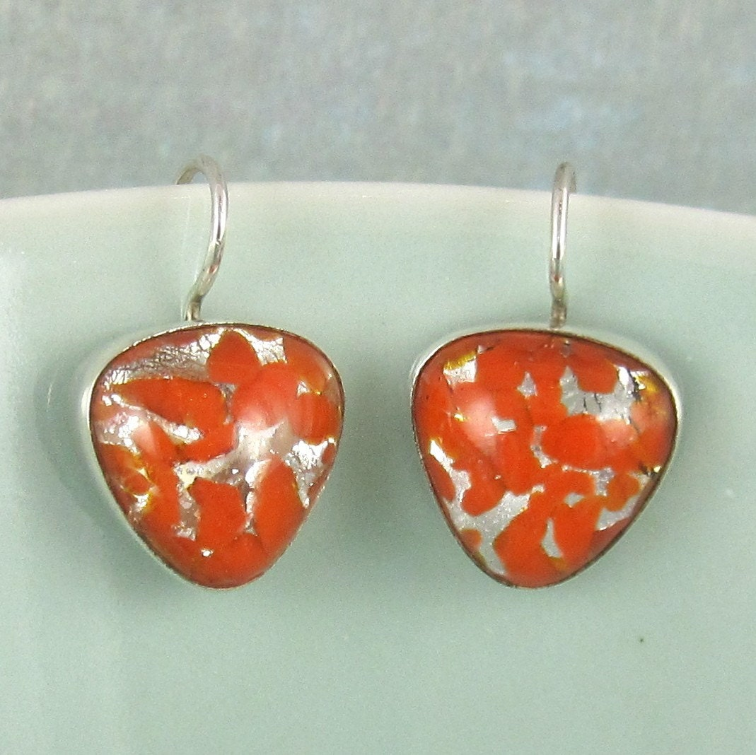 Sterling Silver Vintage Glass Earrings 383
