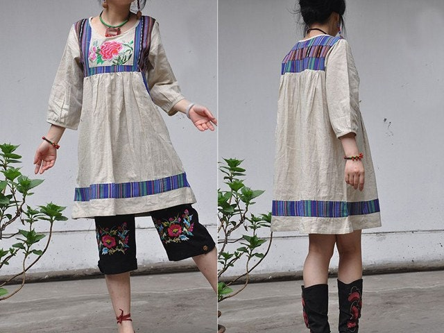 Miao Yun / linen embroidered High waist Splice Seven by sanghema from etsy.com