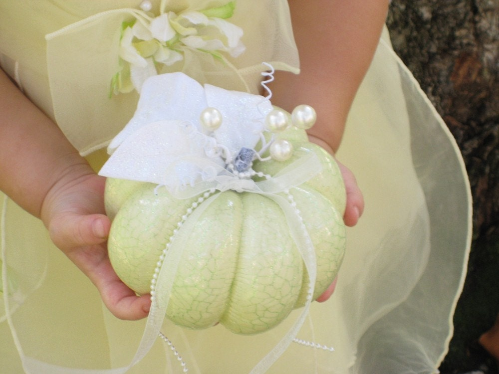 White/Ivory RING BEARER or Flower Girl Pumpkin, Perfect for Autumn and Fall Weddings -- Contact Me To Customize Your Pumpkin