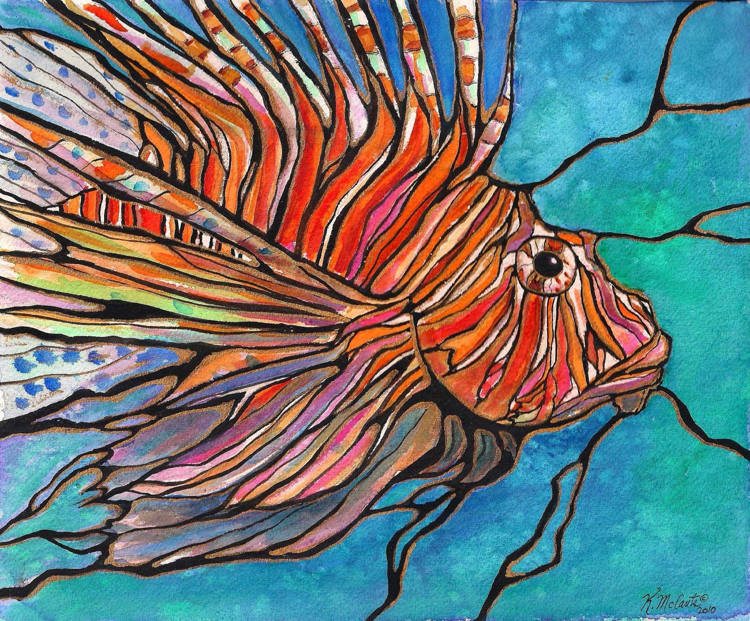 """Colorful LIONFISH Tropical Fish Coral Reef Art 8""""x10"""" PRINT of original by K.McCants Cool Abstract Stained Glass Style - karenmccantsart"""