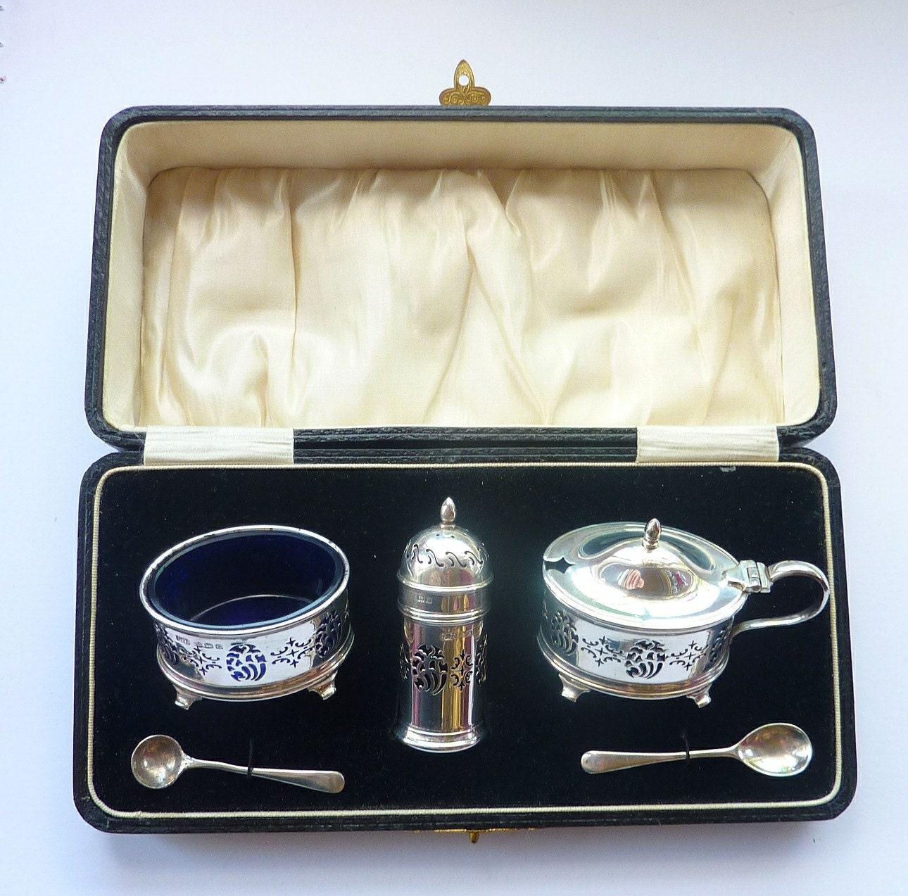 Art Nouveau Style HALLMARKED Solid Silver Cruet Set with Blue Glass Liners Open Salt Dish Pepper Pot  Mustard Pot BOXED