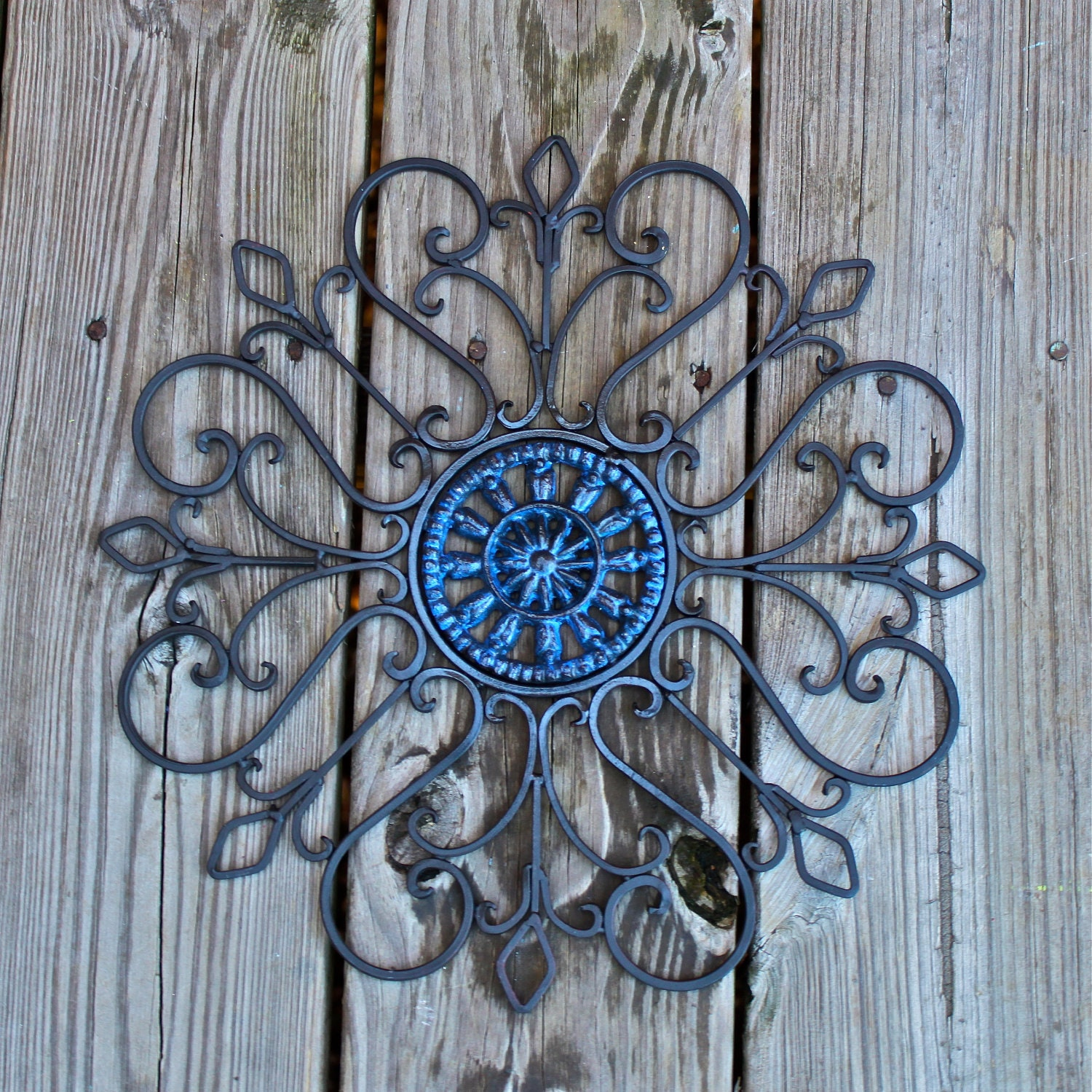 Distressed Metal Wall Decor : Metal wall decor blue distressed patio by