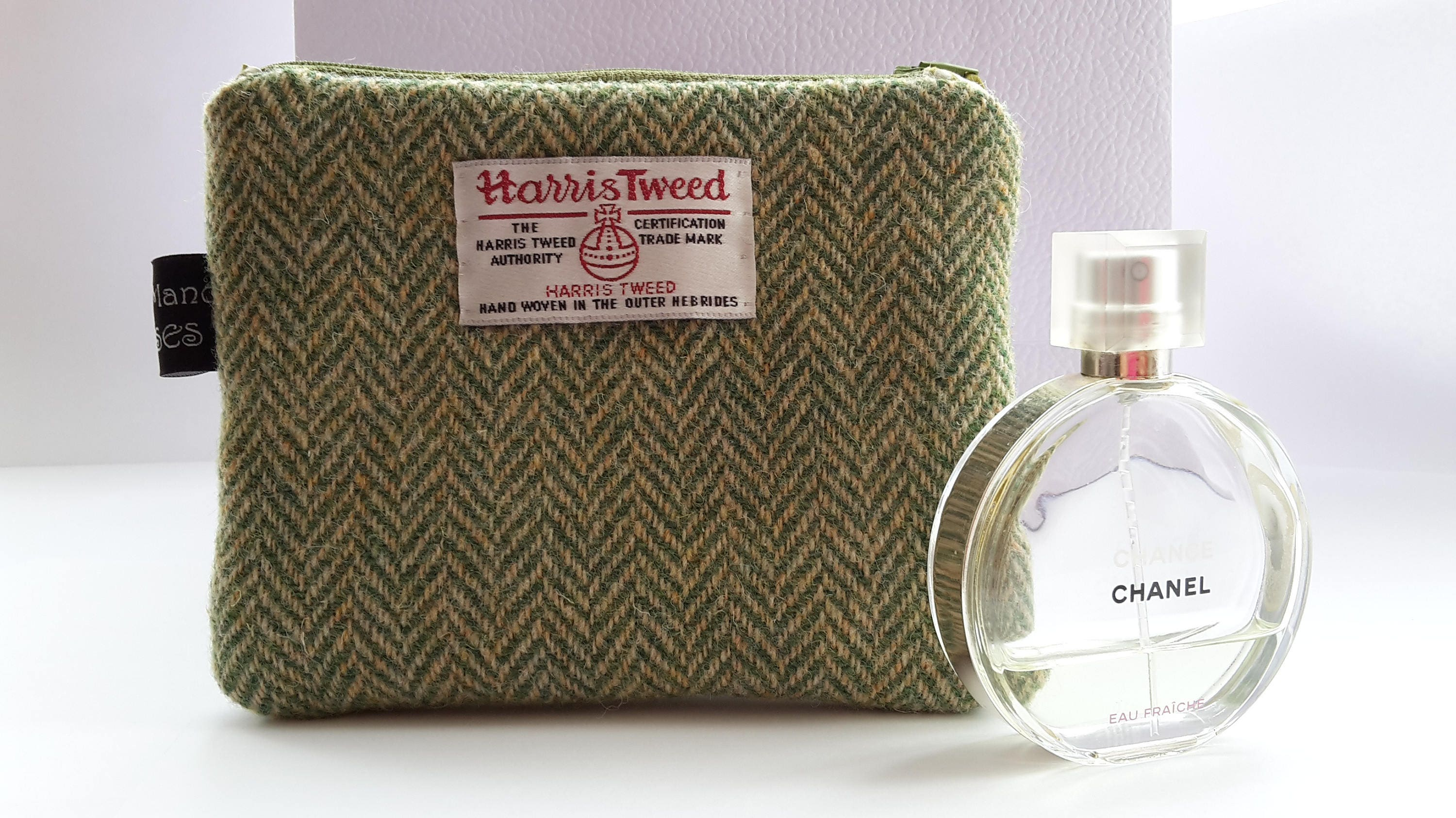 Harris Tweed Green Herringbone Purse with Liberty of London Mitsi Print Lining