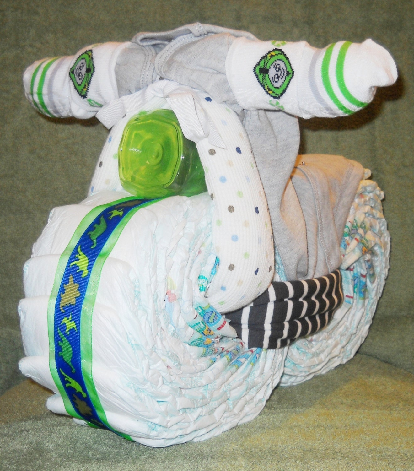 motorcycle diaper cake for baby shower or first by cushycreations