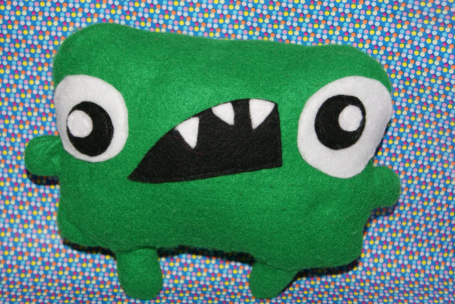 Little Green Monster Plush Soft Toy Cushion Cute By Peenanator