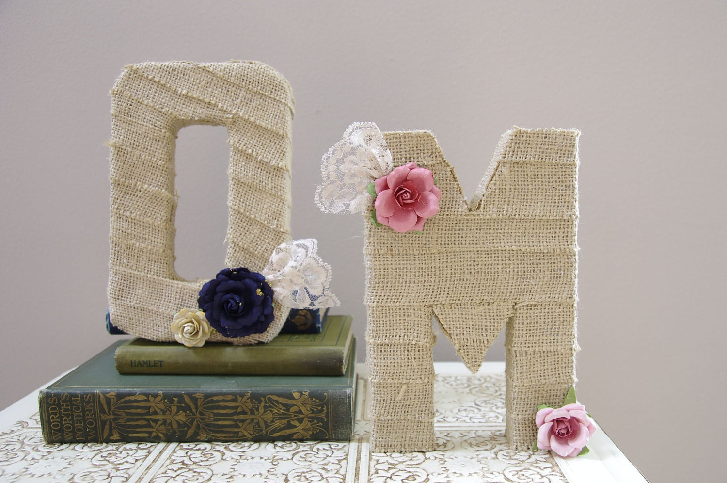 Burlap wrapped letter M - wedding decoration monogram for cake topper, table centerpiece