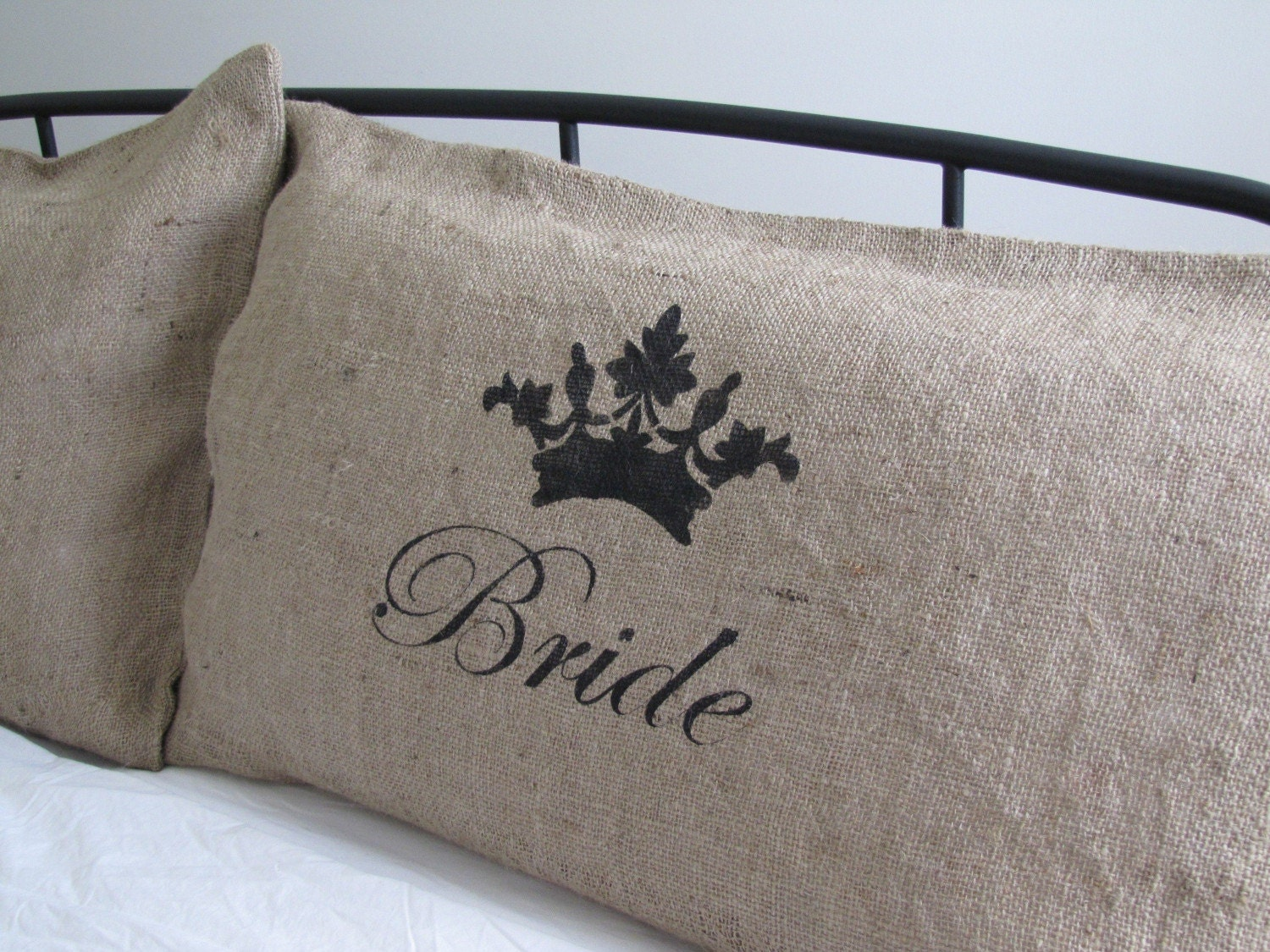 Bride and Groom Burlap Pillow Slips