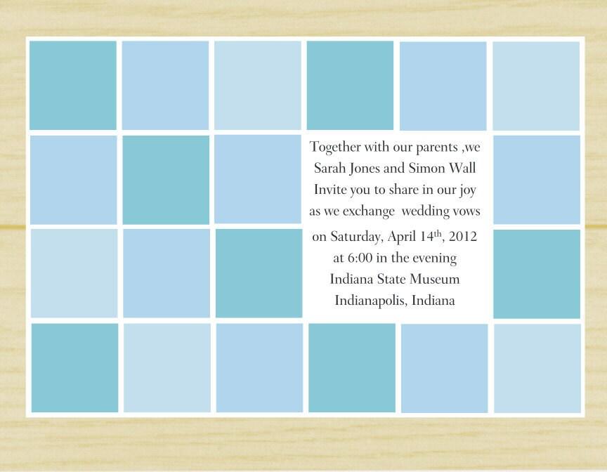 Blue Geo Square Wedding Invitation (set of 10)