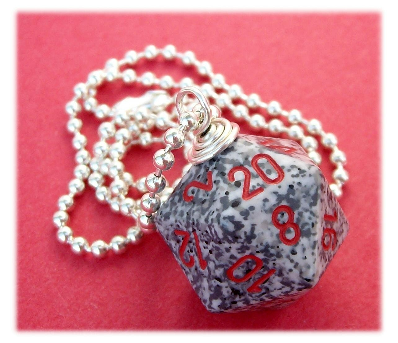 accessory, dice, die, dnd, dungeons dragons, game, geek, geekery, gray, jewelry, necklace, pawandclawdesigns, pendant, red