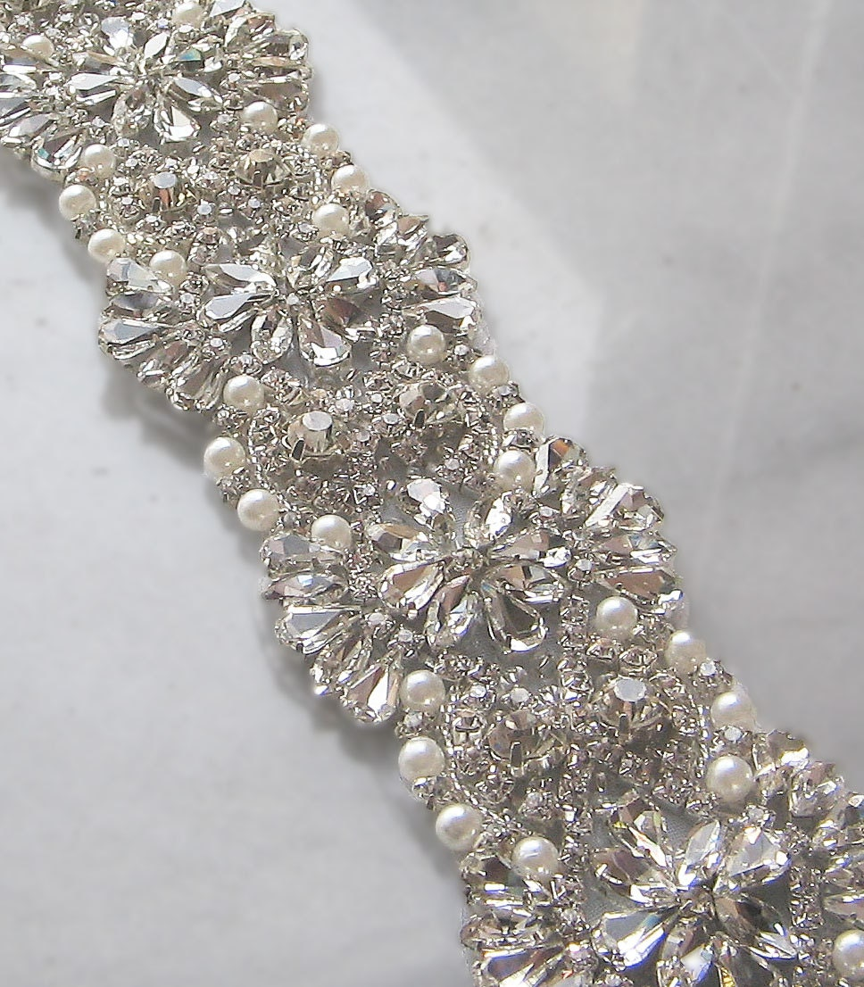 Crystal rhinestone trim with pearls beaded by theredmagnolia for Wedding dress trim beading