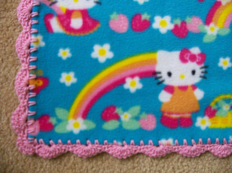 Crochet Pattern For Hello Kitty Baby Blanket : HELLO KITTY Baby Blanket RAINBOWS and by DitzyBlondCrochet ...