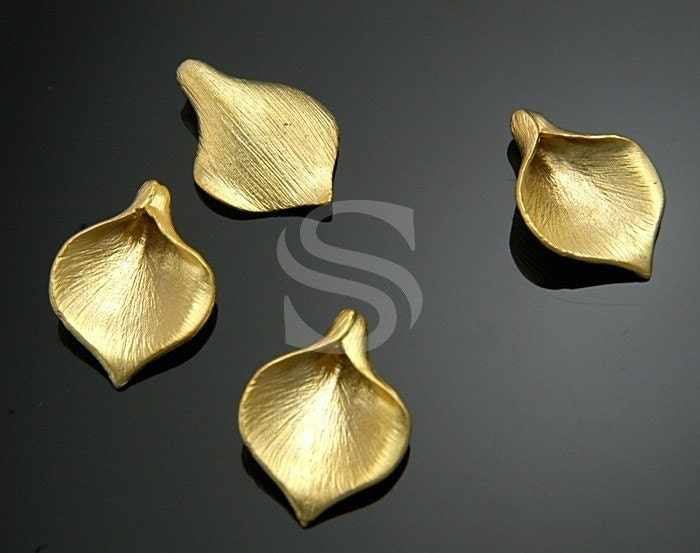 B-712-MG / 4 Pcs - Unique Brush Textured Wide Calla Bead, Matte Finished 16K Gold Plated Brass / 13mm x 18mm