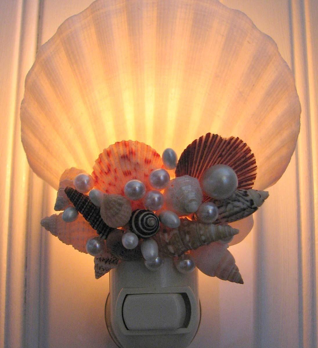 Морской Декор Seashell Night Light - Пляж Декор Shell Night Light