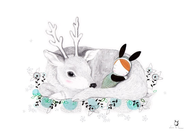 Nursery Goodnight Art - Whimsical Deer and baby Bunny - Buonanotte